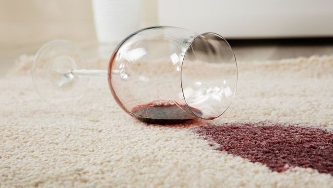 A carpet with a wine stain